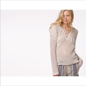 James Perse Open Stitch Lace Up Sweater hoodie